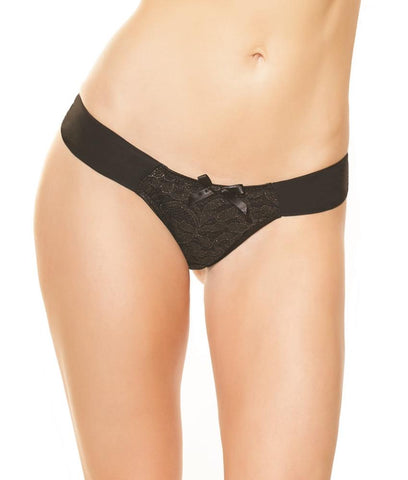 Coquette Mesh and Metallic Lace Panty 3713