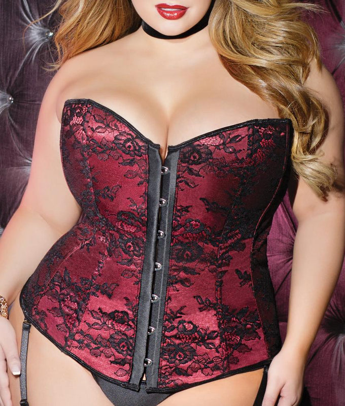 Merlot Black Coquette Sinfully Sweet Plus Size Corset 3812X image 1 -  Brayola 6a43d3026
