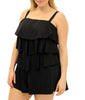 Black Fit4U Fit 4 Ur Hips Solid Tiered Plus Size Swim Romper 602112 image 2 - Brayola