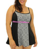 Black/White Fit4U Fit 4 Ur C's Blocked Double Bow Plus Size Swim Dress 802201 image 2 - Brayola