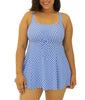 Blue Fit4U Fit 4 Ur Thighs Check It Out Drawstring Plus Size Swim Dress 802231 image 2 - Brayola