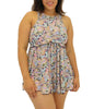 Multi Fit4U Fit 4 Ur Thighs High Neck Plus Size Babydoll Swim Dress 802252 image 2 - Brayola