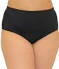 Black Fit4U Fit 4 Ur Tummy Solid Plus Size Swim Brief 804101 image 2 - Brayola