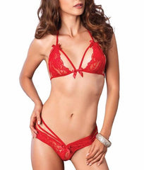 Red Leg Avenue Lace Halter Bra and Panty Set 81413 image 2 - Brayola