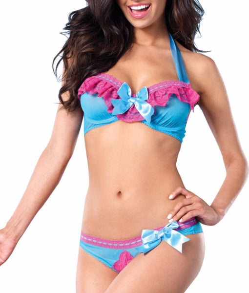 e3f8af5477 Turquoise Leg Avenue Mesh Underwire Halter Bra And Peek A Boo Panty 81442