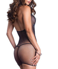 Leg Avenue Fishnet Halter Mini Dress 81508 image 3 - Brayola