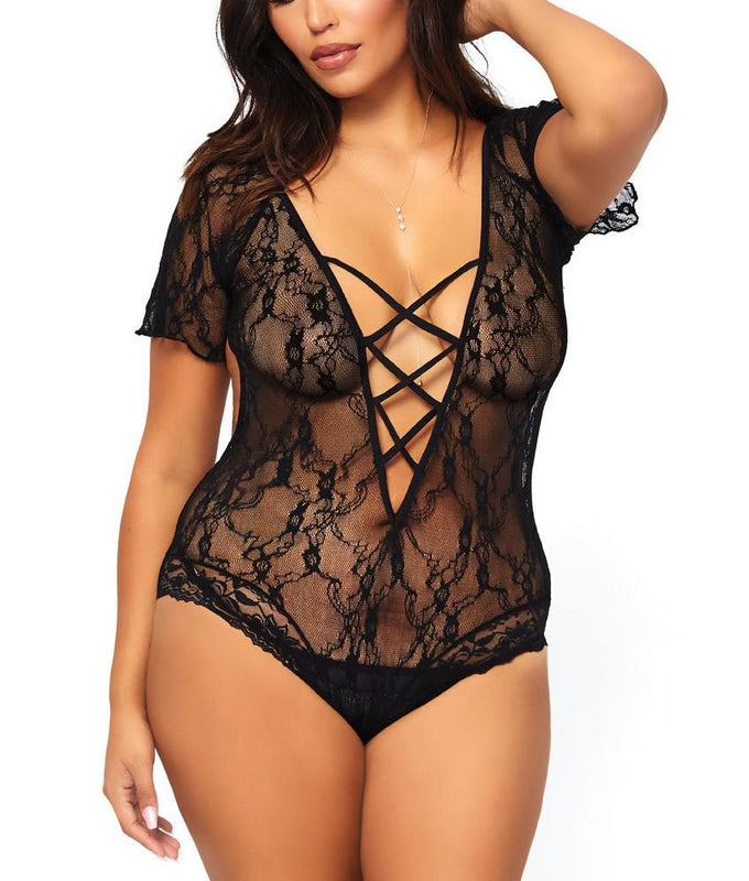 a1c01a2449295 hover to zoom. Black Leg Avenue PLUS Short-Sleeve Lace-Up Bodysuit 81564Q  image 1 - Brayola