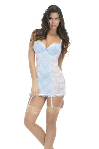 Oh La La Cheri Allover Lace Babydoll With Satin Detail Garters And G-String 8180