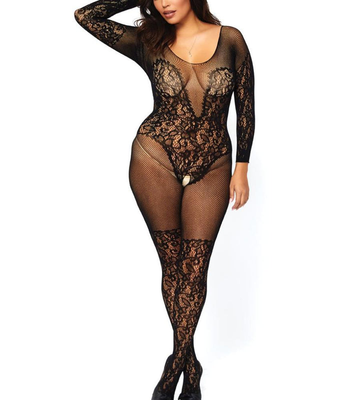 701a0ff3e7d Black Leg Avenue PLUS Vine-Lace   Fishnet Crotchless Bodystocking 89190Q  image 1 - Brayola