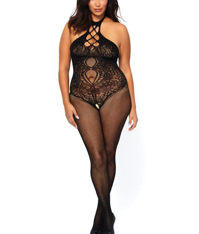 3cd499934e Black Leg Avenue PLUS Fishnet   Lace Crotchless Halter Bodystocking 89225Q  image 1 - Brayola
