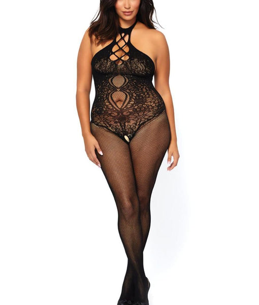 74f92bbcb Black Leg Avenue PLUS Fishnet   Lace Crotchless Halter Bodystocking 89225Q