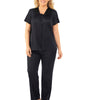Midnight Black Exquisite Form® 2-Piece Short Sleeve Pajama Set Plus 90807 image 2 - Brayola