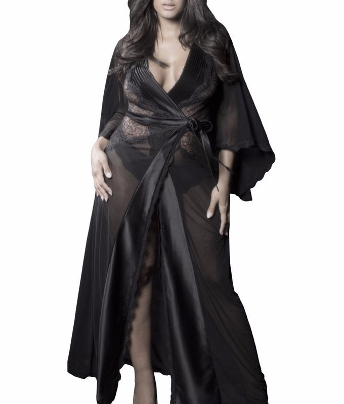 Kaviar Nicolette Sheer Plus Size Dressing Gown 94-10467X at Brayola