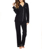 Black/Ivory Cosabella Bella Long Sleeve & Pants Pj Set AMORE9641 image 2 - Brayola