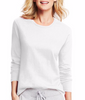 White Hanes Women's Long-Sleeve Crewneck T-Shirt O9133 image 2 - Brayola