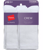 White Hanes Ultimate Women's Crew Socks 6-Pack UC136 image 2 - Brayola