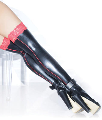 c35e3a0ff Sexy Hosiery Coquette Wet Look Back Seam Thigh Highs D1878