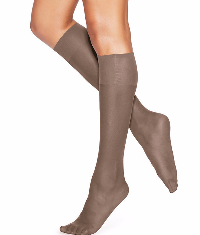 ffcf07680 Town Taupe Hanes Silk Reflections Silky Sheer Knee Highs 2-Pack 725 image 2  -