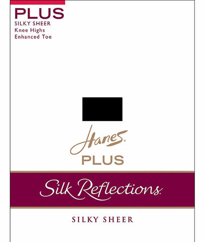 Hanes Silk Reflections Plus Knee Highs Enhanced Toe P19