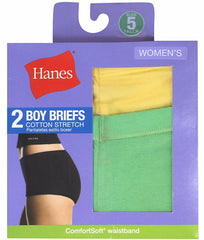 Assorted Hanes Women's Cotton Stretch Boy Briefs D49EAS image 2 - Brayola