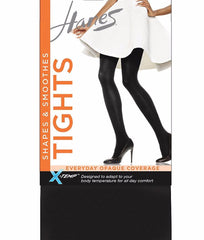 Black Hanes Women's X-TEMP Opaque Tight with Smoothing Panty C168 image 2 - Brayola