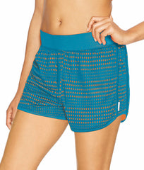 Process Blue/Orange Wedge Champion Women's Mesh Shorts M0602 image 2 - Brayola