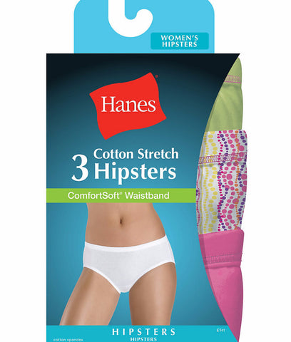 Hanes Women's Cotton Stretch Hipster Panties with ComfortSoft Waistband 3-Pack ET41AS