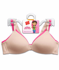 Nude/Bubbly Pink Hanes Girls' Molded Wirefree Bra 2-Pack H137 image 2 - Brayola