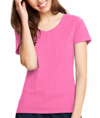 Neon Pink Heather Hanes Women's X-Temp V-Neck T-Shirt 42V0 image 2 - Brayola