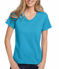 Aquatic Blue Hanes Relaxed Fit Women's ComfortSoft V-neck T-Shirt 5780 image 2 - Brayola