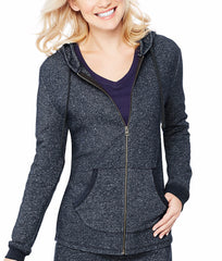 Navy Heather Hanes French Terry Zip Hoodie O4693 image 2 - Brayola