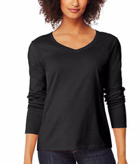 Ebony Hanes Women's Long-Sleeve V-Neck T-Shirt O9142 image 2 - Brayola