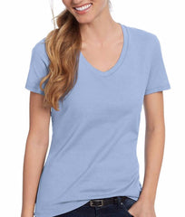 Light Blue Hanes Women's Nano-T V-Neck T-Shirt S04V image 2 - Brayola