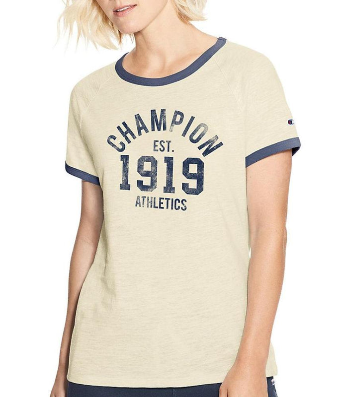 f3fa6d57 Oatmeal Heather/imperial Indigo Heather Champion Women Heritage Ringer Tee-Champion  Est 1919 W9843G