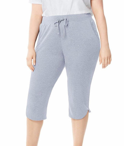 Just My Size By Hanes Womens Plus-size French Terry Dolphin-hem Pocket Capri Pants J347