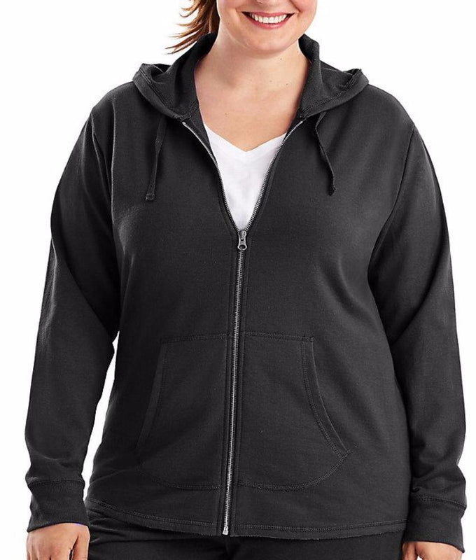 6a242706551 Black Just My Size French Terry Full Zip Plus Size Hoodie OJ243 image 2 -  Brayola