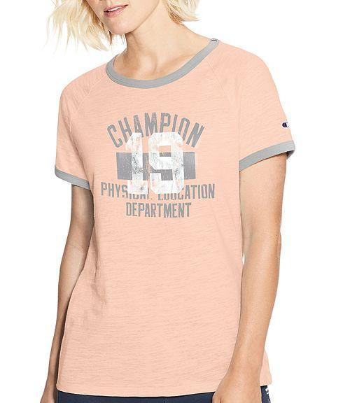 00b4b4b0 Pale Blush Pink Heather/oxford Grey Heather Champion Women Heritage Ringer  Tee-Classic Champion
