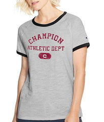 Oxford Grey Heather/black Champion Women Heritage Ringer Tee-Arch W9843G 549699 image 2 - Brayola