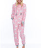 Pink Munki Munki Fluffy Cat Coral Fleece Hooded Onesie MO1717 image 2 - Brayola