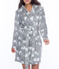 Grey Munki Munki Polar Bear Coral Fleece Hooded Robe MO1751 image 2 - Brayola
