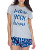 Heather Gray Munki Munki Follow Your Dreams Tee M01868 image 2 - Brayola