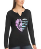 Floral Heart/black Hanes Women's Glitter Owl Long-Sleeve Split Neck Graphic Tee 9362 image 2 - Brayola