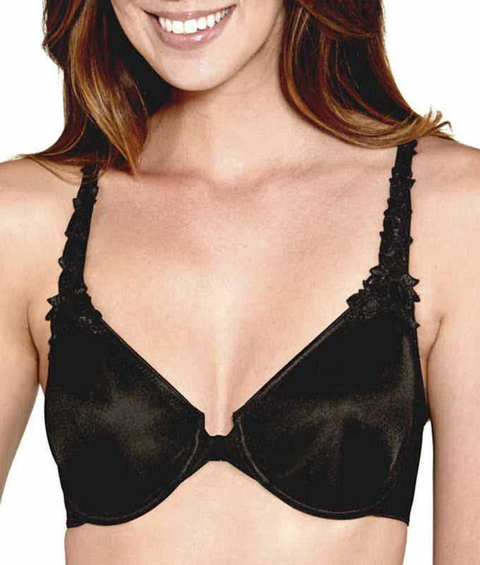6008dce0a6 Black Dominique Meryl Everyday Front Closure Minimizer T-Back Bra 7050  image 1 - Brayola