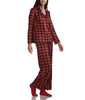 Red Buffalo Check Karen Neuburger Minky Fleece Long Sleeved Girlfriend Pajama Set With Sock RZ0029 image 2 - Brayola