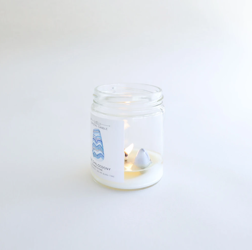 Blue Chalcedony Crystal Candle