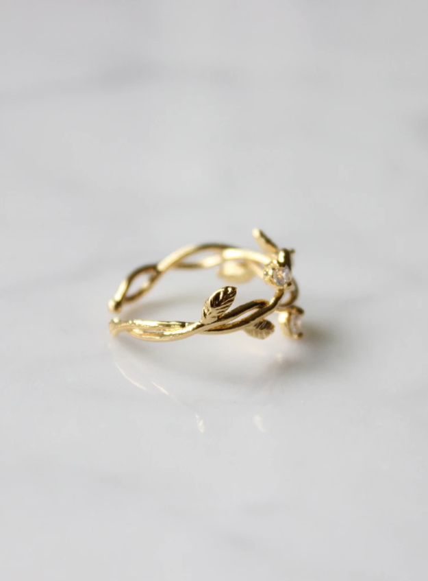 Textured Gold Branch Ring