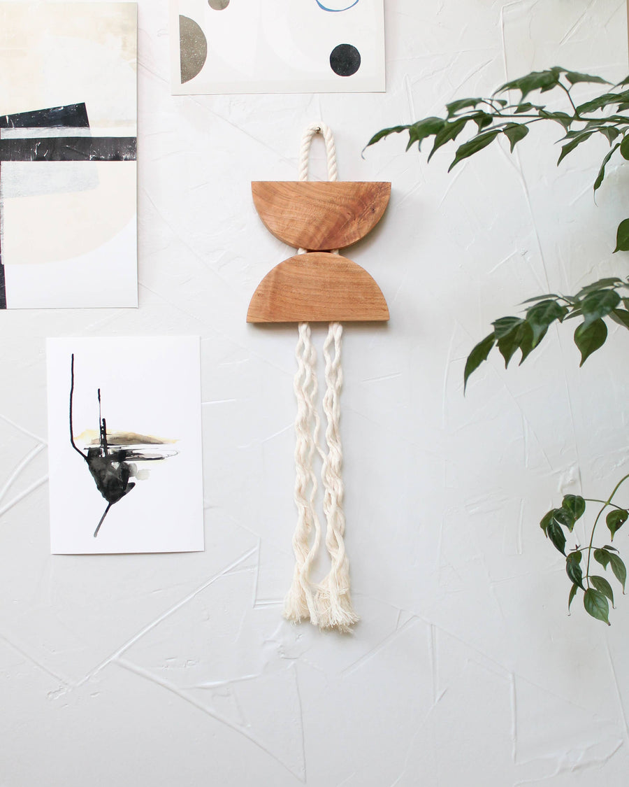 modern wood rope wall hanging