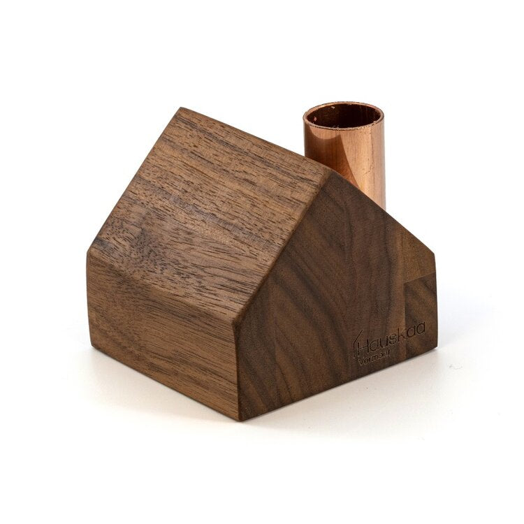 wood house candlestick holder