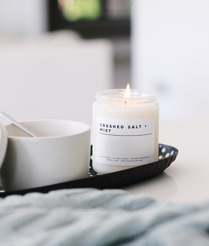 crushed salt mist candle