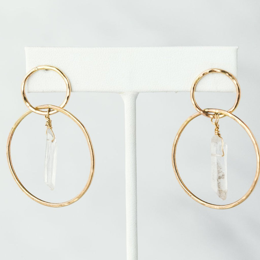 crystal quartz hoop earrings